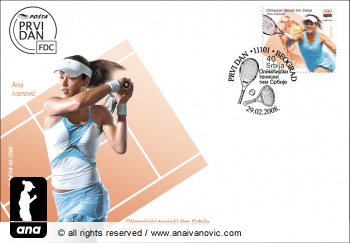 Ana Ivanovic on Serbian stamp and envelope, 2008 Olympic Games edition