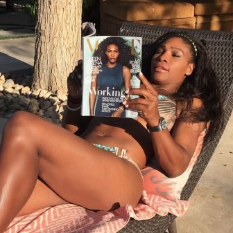 Serena Williams reading her Vogue