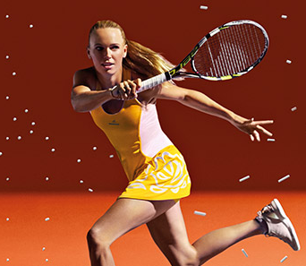 Caroline Wozniacki - Stella McCartney yellow dress 2015 promo