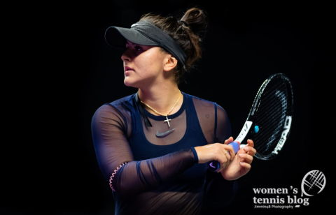 Bianca Andreescu of Canada practices ahead of the 2019 WTA Finals tennis tournament
