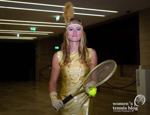 Kristina Mladenovic of France arrives at the players party ahead of the 2019 Upper Austria Ladies Linz WTA International tennis tournament