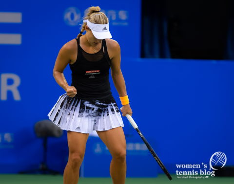 Angelique Kerber of Germany in action during the first round at the 2019 Dongfeng Motor Wuhan Open Premier 5 tennis tournament